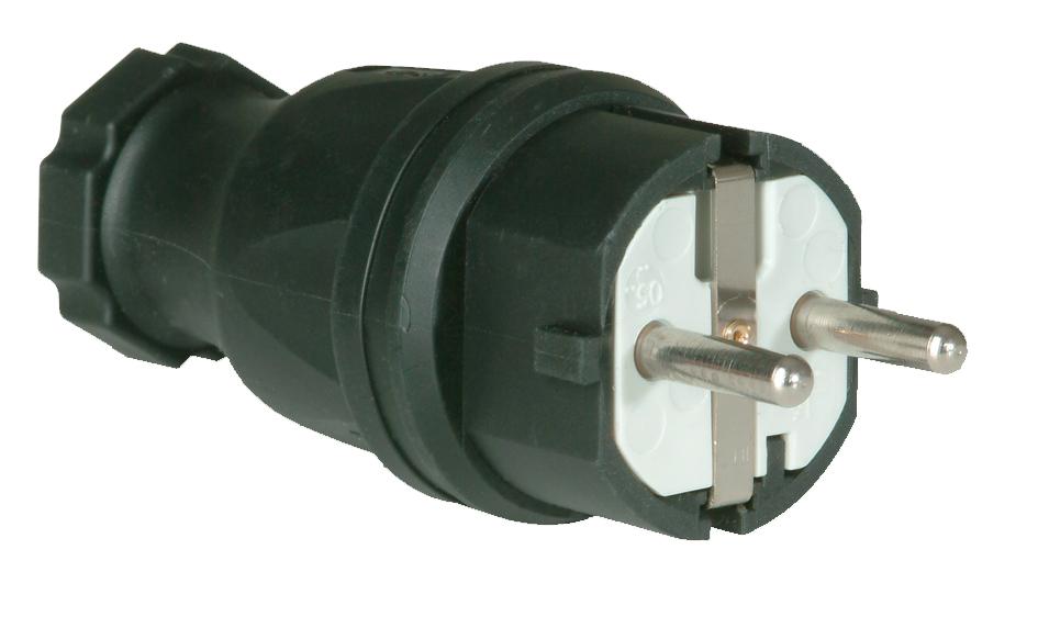 PCE 25621-s Schutzkontaktkupplung Gummi  230 V Schwarz IP44